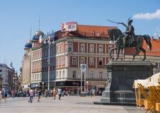 正方形在克罗地亚的首都萨格勒布的中心 免版税库存照片