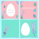 正方形桃红色复活节卡片和蓝色与兔宝宝和色的鸡蛋 横幅用兔子和空间文本的 白鸡蛋框架 皇族释放例证