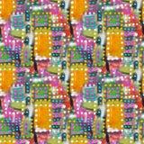 以正方形的形式抽象丙烯酸酯的艺术性的色的圆点无缝的样式 免版税库存图片