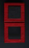 正方形被构筑的正文框红色黑背景 免版税库存图片