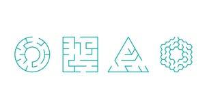 正方形,圈子,三角,六角形迷宫抽象形状  : 向量例证