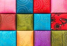 正方形,织品纹理汇集和背景 免版税库存照片