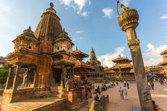 正方形durbar在Patan,古城在加德满都谷地 库存照片