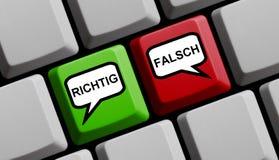 正确或错误德语-键盘 免版税库存图片