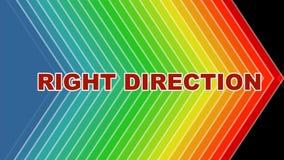 正确的方向,生气蓬勃的箭头在光谱颜色,建立标题的生气蓬勃的信件塑造 刺激录影,介绍 皇族释放例证
