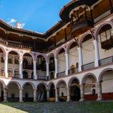 正统里拉山脉修道院的部分 建筑曲拱样式 库存图片