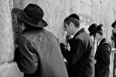 正统hassidic宗教犹太人在黑传统成套装备穿戴了祈祷在哭墙 免版税图库摄影