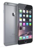正苹果计算机空间灰色iPhone 6 免版税图库摄影