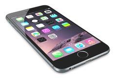 正苹果计算机空间灰色iPhone 6 库存图片