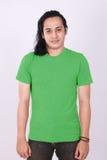 正面图空白在亚洲男性模型的绿色衬衣 库存照片
