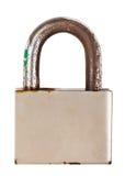 正面图闭合的钢老挂锁 库存图片