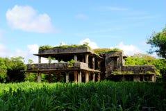 正面图,世界大战11日本人空军司令部大厦,天宁岛废墟  免版税库存照片