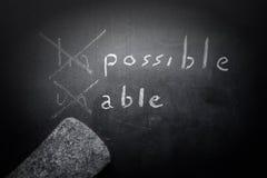 正面想法的概念手写在有m的黑黑板 免版税图库摄影