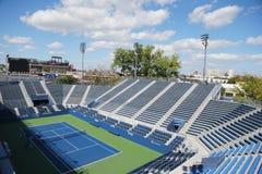 正面看台体育场在美国公开赛期间的比利・简・金国家网球中心2014年 库存图片