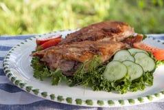 正餐 可口油煎的鱼的图象与菜的 库存图片