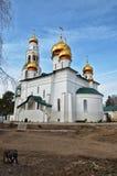 正统修道院看法有教会金黄圆顶的  免版税图库摄影