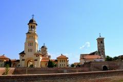 正统大教堂在中世纪堡垒阿尔巴尤利亚,特兰西瓦尼亚 库存图片