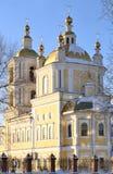 正统大教堂 末端重点雪降雪春天星期日冬天 免版税库存照片
