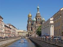 正统寺庙有抢救在血液在圣彼德堡 免版税库存图片