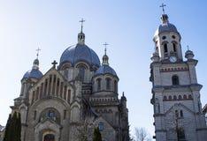 正统的教会 喀尔巴阡山脉的教会mts西部小的乌克兰 欧洲 春天2015年 库存图片