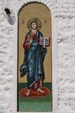 正统象是在俄罗斯正教会的墙壁上的一幅壁画 库存图片