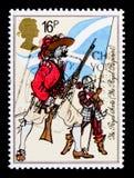 步兵和矛兵皇家苏格兰语, 1633,英国陆军制服serie,大约1983年 库存照片
