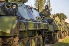 步兵塞尔维亚武力的作战车辆 图库摄影