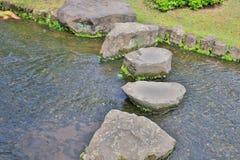 步在Koko en庭院里向在一个池塘的道路扔石头 免版税库存图片