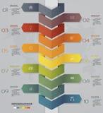 10步时间安排箭头infographic元素 10步infographics元素 10 eps 免版税库存照片