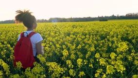 步行与红色背包和水瓶的混合的族种非裔美国人的女孩少年女性少妇在黄色花的领域 影视素材