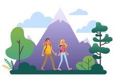 步行与背包的人们 旅行和冒险 皇族释放例证