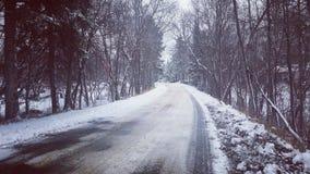 步行到冬天土地里 库存照片