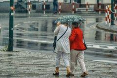步行在一场重的暴雨期间的一把伞下 免版税库存图片