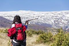 步行在一座高冬天山的旅游妇女 免版税库存照片