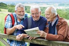 步行在乡下的小组资深男性朋友 免版税库存图片
