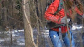 步行在冬天森林旅行的女性远足者,迁徙,极端体育概念 股票录像