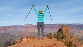 步行在大峡谷的妇女来临到观察点和胳膊  股票视频