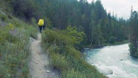步行在山冒险的男性背包徒步旅行者 股票录像