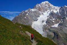 步行在旅游轨道的山的背包徒步旅行者 免版税库存照片