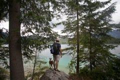 步行在有狗的高山湖的游人 免版税图库摄影