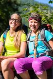 步行在森林的朋友或姐妹获得乐趣 免版税库存图片