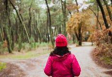步行在森林里的成熟的妇女 免版税库存图片