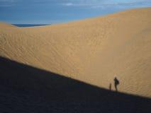 步行在沙丘的孩子和成人的阴影 免版税库存照片