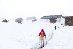 步行在雪的人们落后往营地 库存图片