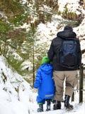 步行在雪的父亲和儿子 库存照片