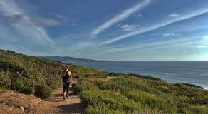 步行在Torrey Pine的年轻活跃妇女陈述自然储备,拉霍亚,加利福尼亚,美国 免版税图库摄影