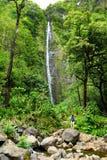 步行对在Pipiwai足迹的头的著名Waimoku秋天的年轻女性游人,在路的七个神圣的水池上 免版税库存图片