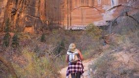 步行对山巨大的垂直的整体墙壁的妇女在红色岩石峡谷的 股票录像