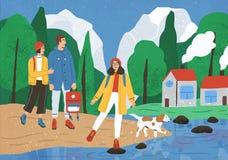 步行或挑运在森林或森林里的小组逗人喜爱的愉快的朋友在河或湖 年轻微笑的游人或 向量例证