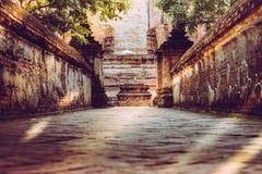 步行方式或输入对老教堂和塔有红砖墙壁的 免版税图库摄影